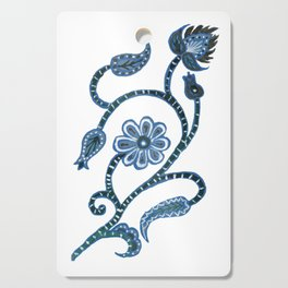 Blue Paisley Doodle-right facing Cutting Board