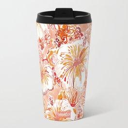 KOMBUCHA-CHA Orange Tropical Hibiscus Floral Travel Mug