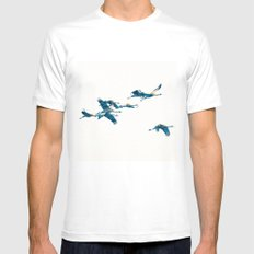 Beautiful Cranes in white background X-LARGE Mens Fitted Tee White