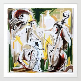 Expressive Musicians Playing Cello Flute Accordion Saxophone drawing Art Print