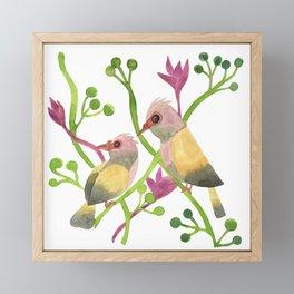 Tropical Birds of Paradise - Green Palette Framed Mini Art Print
