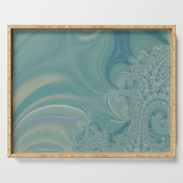 Soft Green Fractal 2 - Abstract Art by Fluid Nature Serving Tray