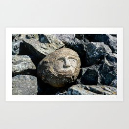 Happy Faces Carved in Stone Art Print