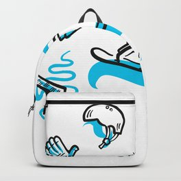 Snowboarding freestyle collection hand drawn set Backpack
