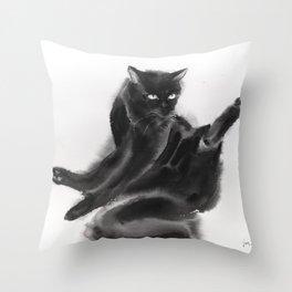 Grooming black cat Throw Pillow