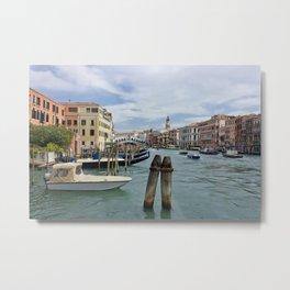 Grand Canal In Venice Near Rialto Bridge Metal Print