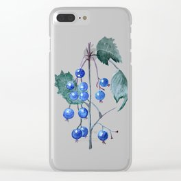 Watercolor Blueberries Clear iPhone Case