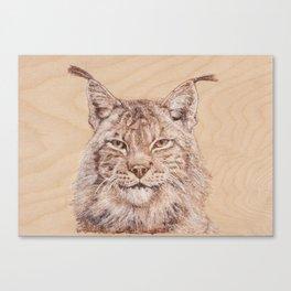 Lynx Portrait - Drawing by Burning on Wood - Pyrography Art Canvas Print