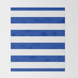 Dark Princess Blue and White Wide Horizontal Cabana Tent Stripe Throw Blanket