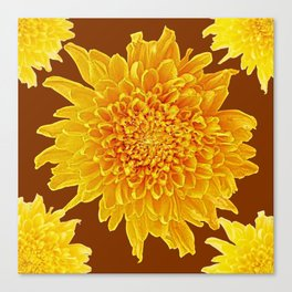 Coffee Brown Color Golden Yellow Chrysanthemums Canvas Print