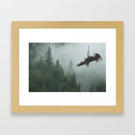 Battle for the Cedars - Bald Eagles Wildlife Scene Framed Art Print