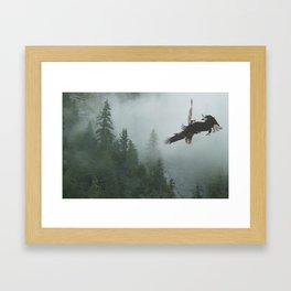 Battle for the Cedars - Bald Eagles Wildlife Scene Framed Art Print