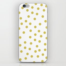 Simply Dots in Mod Yellow on White iPhone Skin
