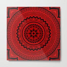 Red Mandala Metal Print