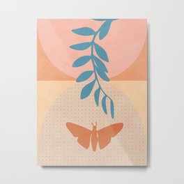 shapes modern leaves butterfly Metal Print