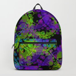Multicolored delicate pastel green circles and blue ellipses depicting abstract ornamental purple fl Backpack