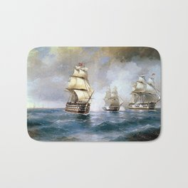Brig Mercury Attacked by Two Turkish Ships Bath Mat
