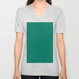 Teal Green and Cadmium Green Diamonds Unisex V-Neck