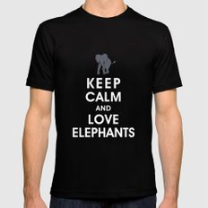 Keep Calm and Love Elephants LARGE Black Mens Fitted Tee