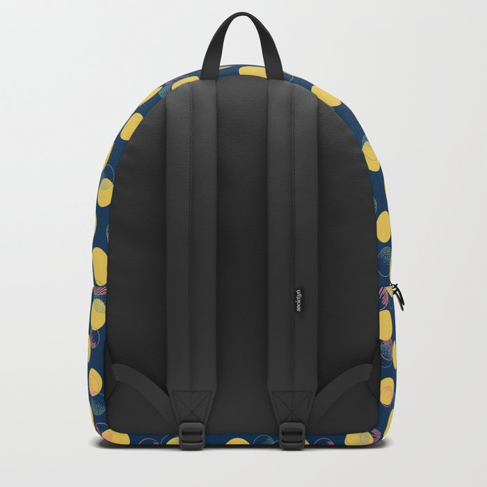 Yellow Polka Dots And Scribbles Backpack