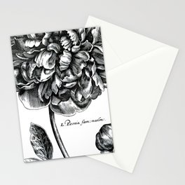 Black and White Peony Stationery Cards