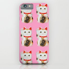 MANEKINEKO CAT PINK PATTERN iPhone Case