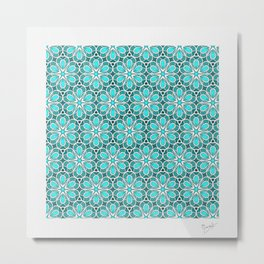 Symmetrical Flower Pattern in Turquoise Metal Print