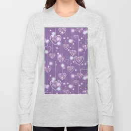 Bright openwork hearts on a lilac background. Long Sleeve T-shirt