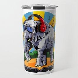 Hipster Elephant | Cool Glasses Headphones Swag Travel Mug
