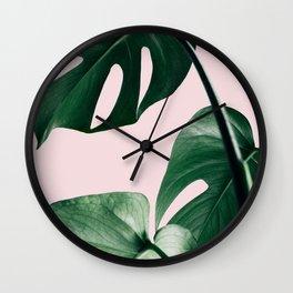 Plant, Green, Monstera, Leaf, Pink, Minimal, Trendy decor, Interior, Wall art, Photo Art Print Wall Clock