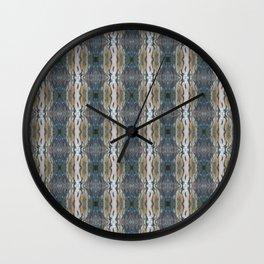 Elegant Linen Taupe Blue Pattern Wall Clock