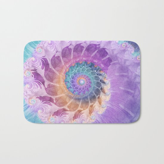 Painted Fractal Spiral in Turquoise, Purple, and Orange Bath Mat