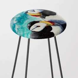 Puffins - Always together - by LiliFlore Counter Stool