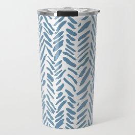 Sky blue and White Herringbone Pattern Travel Mug