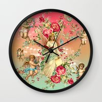 romantic Wall Clocks featuring romantic by mark ashkenazi