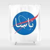nasa Shower Curtains featuring Nasa | Arabic by Ziad Aljewair