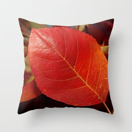 Autumn coppery red Juneberry berry leaf Throw Pillow