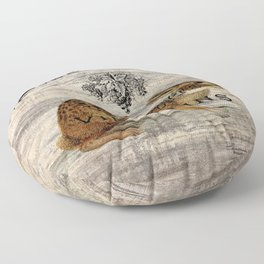 vintage typography fall harvest autumn woodland french hare rabbit Floor Pillow