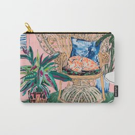 Ginger Cat in Peacock Chair with Indoor Jungle of House Plants Interior Painting Carry-All Pouch
