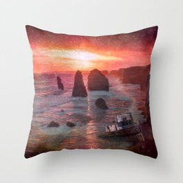 Sunset At Rocky Beach With Shipwreck Throw Pillow
