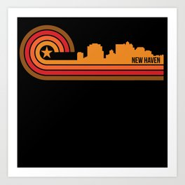 Retro Style New Haven Connecticut Skyline Art Print