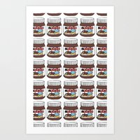 nutella Art Prints featuring Nutella Love by Gabriela Riveros