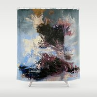 psychology Shower Curtains featuring CATHARTIC by THE USUAL DESIGNERS