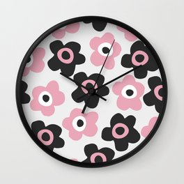 Black and pink flowers Wall Clock
