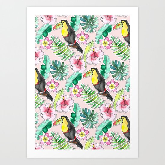 Tropical Toucan Paper-Cut Floral Art Print