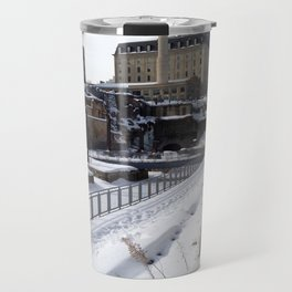 Minneapolis, Minnesota Skyline Stone Arch Bridge Travel Mug