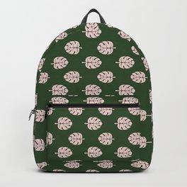 Tropical leaves Monstera deliciosa emerald and pink #monstera #tropical #leaves #floral #homedecor Backpack