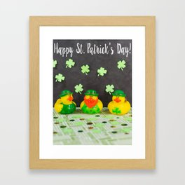 Happy St. Patrick's Day with St. Patrick's Day Rubber Ducks Framed Art Print