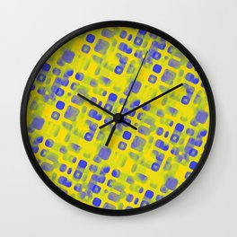 Blue Smudged Shapes On Yellow Wall Clock