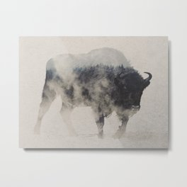 Bison In The Fog Metal Print